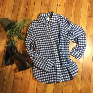 Coldwater Creek Blue & White Check Top